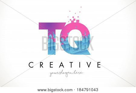 Tq T Q Letter Logo With Shattered Broken Blue Pink Texture Design Vector.