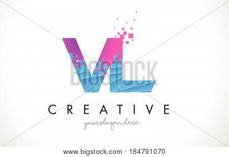 Vl V L Letter Logo With Shattered Broken Blue Pink Texture Design Vector.