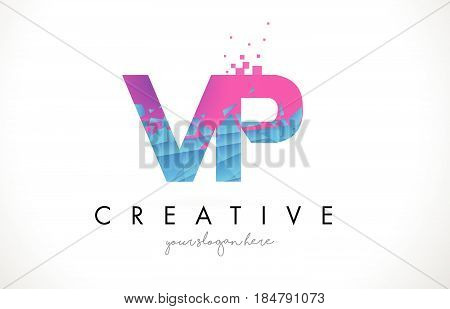 Vp V P Letter Logo With Shattered Broken Blue Pink Texture Design Vector.