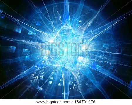 Futuristic blue glowing human neuron with chip futuristic biotechnology computer generated abstract background 3D rendering