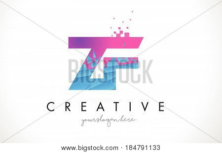 ZF Z F Letter Logo with Broken Shattered Blue Pink Triangles Texture Design Vector Illustration. poster