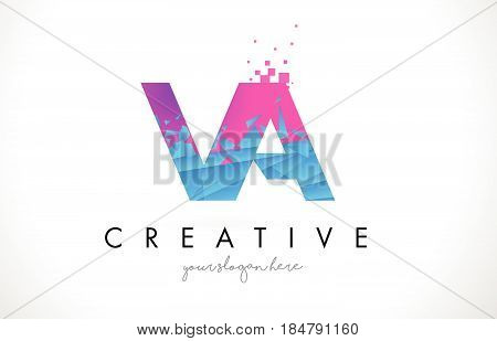 Va V A Letter Logo With Shattered Broken Blue Pink Texture Design Vector.