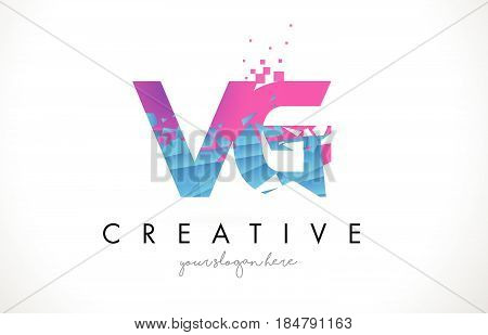 Zl Z L Letter Logo With Shattered Broken Blue Pink Texture Design Vector.