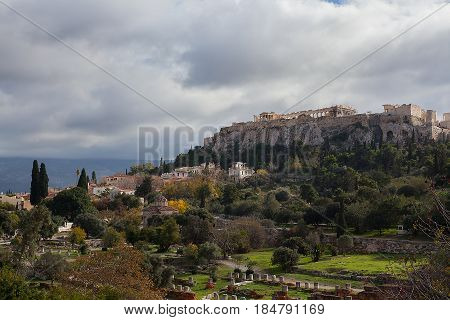 Parthenon temple and ruins on the Acropolis in Athens Greece.