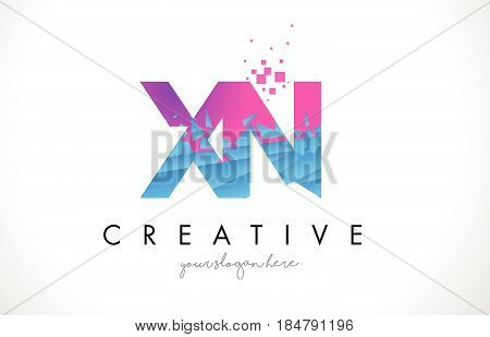 Vq V Q Letter Logo With Shattered Broken Blue Pink Texture Design Vector.