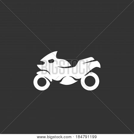 Motorcycle vector logo isolated on a black background. Icon silhouette design template. Simple symbol concept in flat style. Abstract sign pictogram for web mobile and infographics