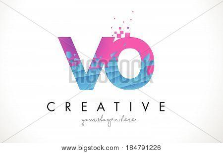 Vo V O Letter Logo With Shattered Broken Blue Pink Texture Design Vector.