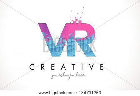 Vr V R Letter Logo With Shattered Broken Blue Pink Texture Design Vector.