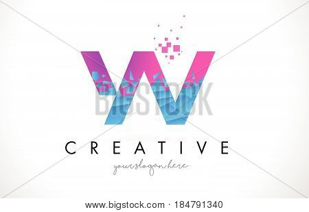 Yv Y V Letter Logo With Shattered Broken Blue Pink Texture Design Vector.