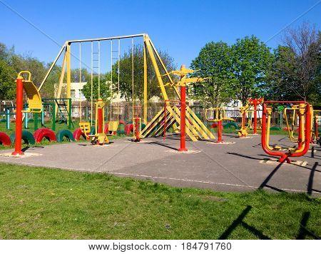 School playground with metal simulators in the city of Krivoi Rog in Ukraine