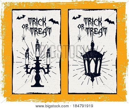 Hand drawn textured Halloween card with candlestick lantern and bats