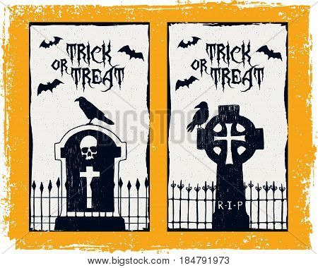 Hand drawn textured Halloween card with tombstones ravens and bats