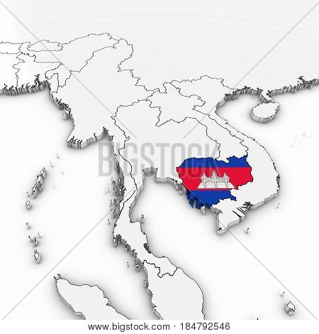 3D Map Of Cambodia With Cambodian Flag On White Background 3D Illustration