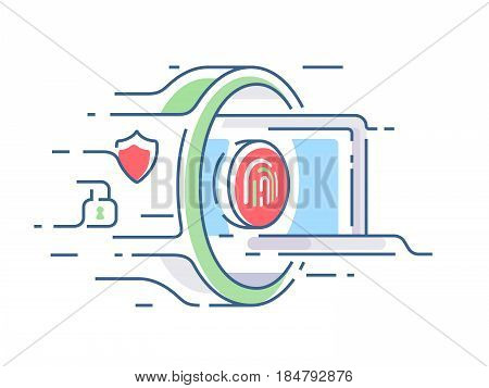 Digital security of information. Laptop passes through gateway. Vector illustration