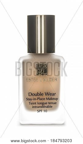 SWINDON UK - MAY 1 2017: Estee Lauder Double Wear Stay in Place Makeup SP10 on a white background