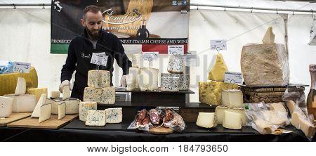 MAPLEDURHAM UK - MAY 1 2017: Italian cheese and wine stall at the Mapledurham food festival Bank Holiday Monday