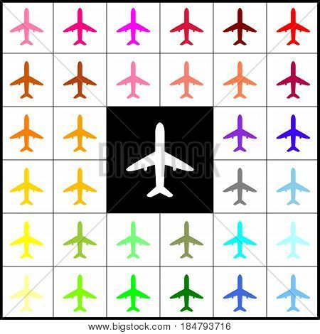 Airplane sign illustration. Vector. Felt-pen 33 colorful icons at white and black backgrounds. Colorfull.