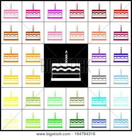 Birthday cake sign. Vector. Felt-pen 33 colorful icons at white and black backgrounds. Colorfull.