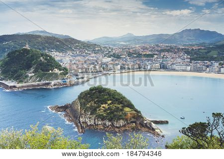 Observation deck in trip holiday in Bilbao top view on seascape on mountain and island in ocean background panoramic view of the city landscape. Mock up for text nature travel concept