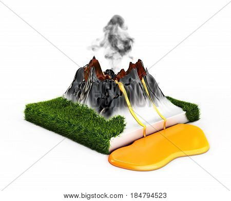 3d illustration Crater mountain volcano grass and eruption lava hot natural eruption