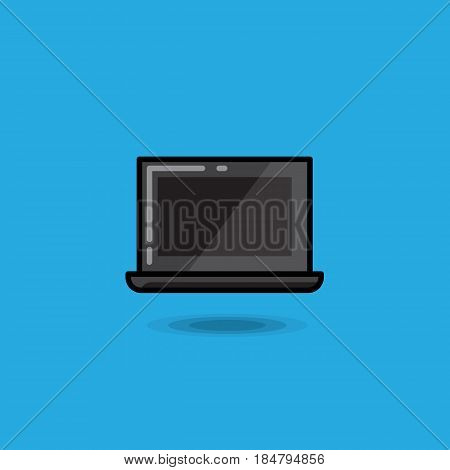 Vector illustration laptop on a blue background. Illustration netbook icon isolated, notebook vector