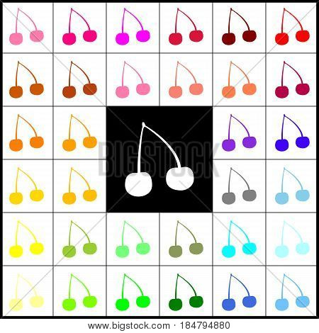 Cherry sign illustration. Vector. Felt-pen 33 colorful icons at white and black backgrounds. Colorfull.