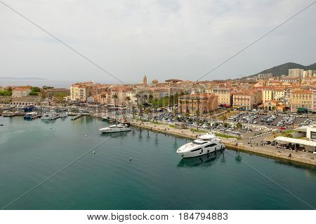 View from above on the city and port of Ajaccio on the island Corsica France.