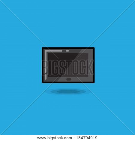 Vector illustration tablet computer pc on blue background. Illustration digital tablet ipad icon isolated