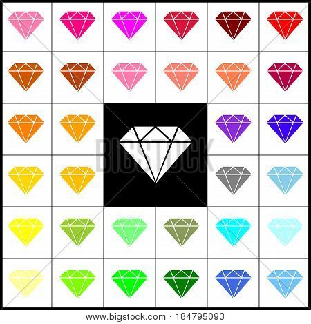 Diamond sign illustration. Vector. Felt-pen 33 colorful icons at white and black backgrounds. Colorfull.