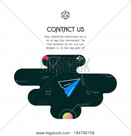 Trendy vector geometric 80-90-style page website template, with communication and contact information icon and text, for websites, magazine pages, presentation templates