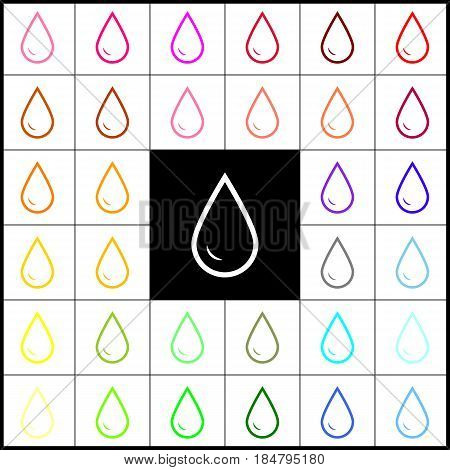 Drop of water sign. Vector. Felt-pen 33 colorful icons at white and black backgrounds. Colorfull.