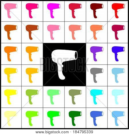 Hair Dryer sign. Vector. Felt-pen 33 colorful icons at white and black backgrounds. Colorfull.