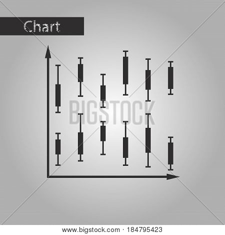 black and white style icon Economic chart
