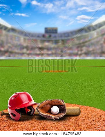 3D rendered baseball stadium full of fans in the stands with baseball helmet bat glove and ball on infield dirt clay. Deliberate focus on foreground with shallow depth of field on background. Copy space.