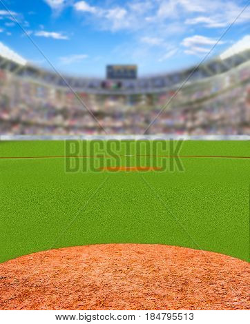 3D rendered baseball stadium full of fans in the stands with deliberate focus on foreground and shallow depth of field on background.