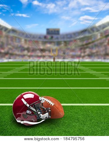 3D rendered American football stadium full of fans in the stands with helmet and ball on the field. Deliberate focus on foreground and copy space.