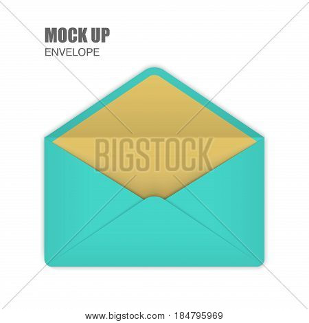Aquamarine Open Empy Envelopes. Template for Your Business. Vector illustration