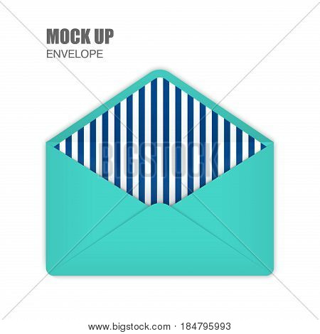 Aquamarine Open Empy Envelopes with darkblue stripes inside. Template for Your Business. Vector illustration