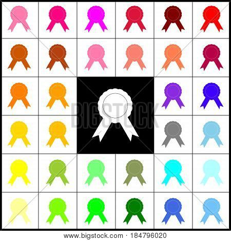 Label sign ribbons. Vector. Felt-pen 33 colorful icons at white and black backgrounds. Colorfull.