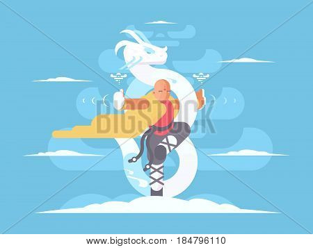 Tibetan monk character. Kung Fu martial arts asia. Vector illustration