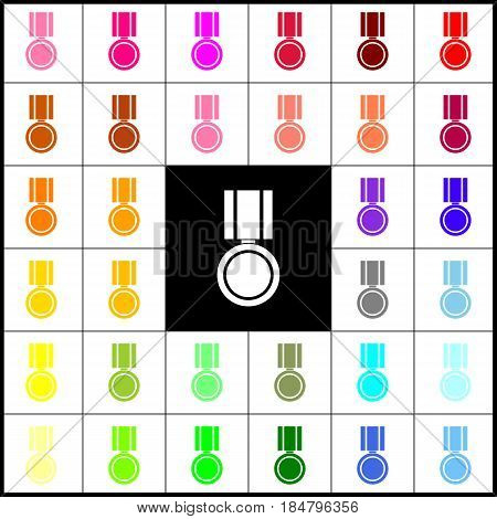 Medal sign illustration. Vector. Felt-pen 33 colorful icons at white and black backgrounds. Colorfull.