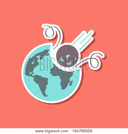 paper sticker on stylish background nature meteorite earth