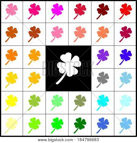 Leaf clover sign. Vector. Felt-pen 33 colorful icons at white and black backgrounds. Colorfull.
