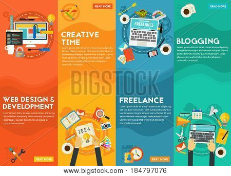 Webdesign and development, blogging, freelance and creative time concept. Vertical banners, vector illustrations