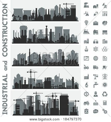 Vector horizontal banners with industrial part of city and constructions. Factories, refineries and power plants. Icons collection