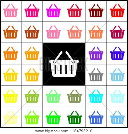 Shopping basket sign. Vector. Felt-pen 33 colorful icons at white and black backgrounds. Colorfull.