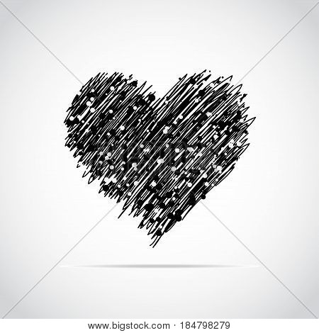 Hand drawn heart with lots of smal black and whitel dots. Vector illustration. Element for Valentine s Day or declaration of love.