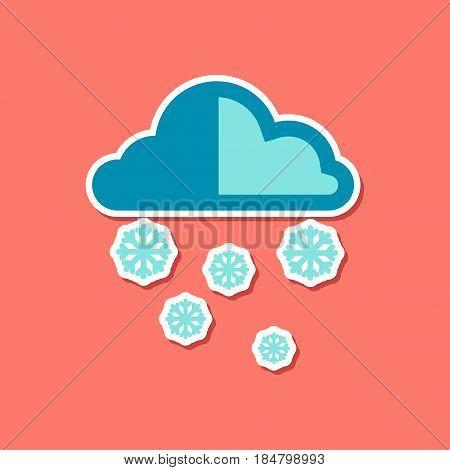 paper sticker on stylish background cloud Snow