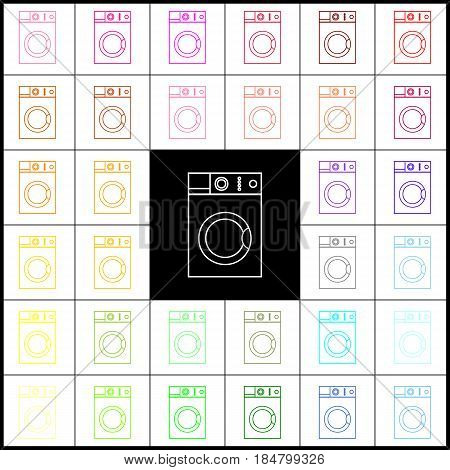 Washing machine sign. Vector. Felt-pen 33 colorful icons at white and black backgrounds. Colorfull.