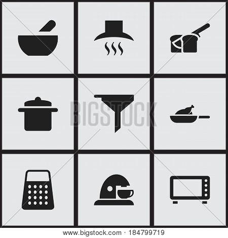 Set Of 9 Editable Food Icons. Includes Symbols Such As Bakery, Soup, Cup And More. Can Be Used For Web, Mobile, UI And Infographic Design.